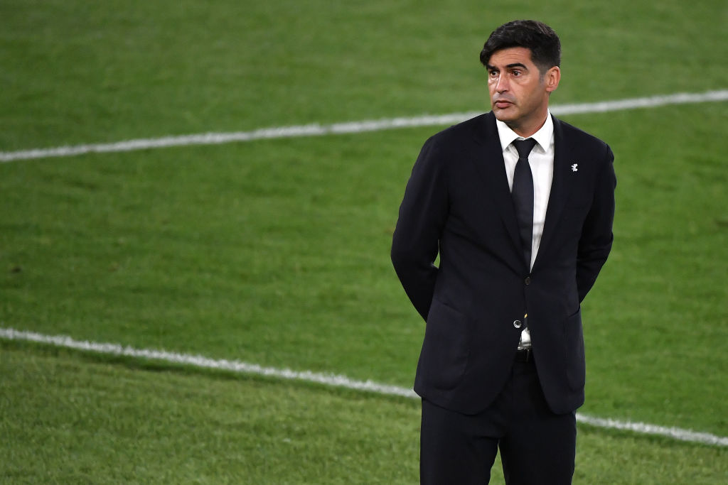 Paulo Fonseca coach of AS Roma reacts during the Europa