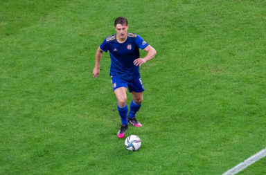 Rasmus Lauritsen of Dinamo in action during the UEFA